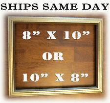 "8"" 10"" Rastic Gold Distressed Solid Wood 8x10 Picture Photo Frame 10 x 8 Golden"