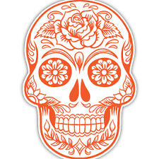 Etiqueta Engomada De Coche Naranja Azúcar Calavera Día de los Muertos Tatuaje Flor Van Caravana 7x10cm