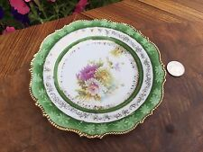 ANTIQUE GERMANY SAXE ALTENBURG Cake Plate Flowers Scalloped Gold Foil 6.5""