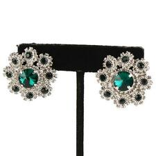 """CLIP ON-Silver green & clear stone circle clip on earrings.  1 1/4"""""""