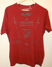 GUESS Red Men's Graphic Distressed T-shirt Small 100% Cotton