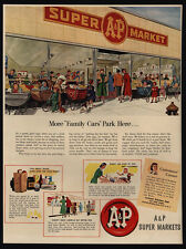1950 A&P Super Market - Babies Wait  For Mom Outside Of Grocery Store VINTAGE AD