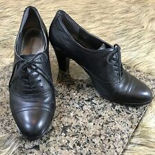 Naturalizer Sz 6 M Black Leather Oxford Vintage Style Laced Heels