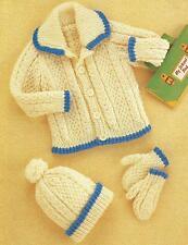 """Baby Knitting Pattern Aran Jacket Cap Mittens 21-23"""" 266"""