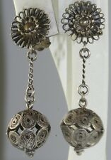 VINTAGE ANTIQUE EXOTIC STERLING SILVER FILIGREE DANGLING CLIP EARRINGS
