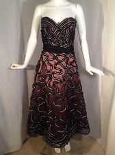 Jovani Black Ribbon Beaded Rockabilly Sweetheart Formal Dress Sz 8 Crinoline