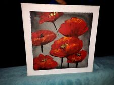 ONE OF A KIND 10 x10 Floral Flower RED POPPIES Oil Canvas Painting Wall Folk ART