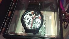 RARE Flud Disney Mickey Mouse Face Prologue Sketch II Watch in Black--New in Box