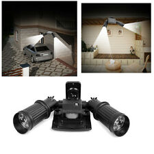 Black Solar Powered Security Twin Head Super Bright Spot Lights Motion Detector