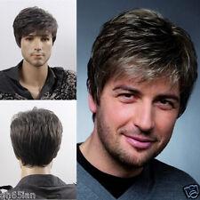 Moda SEXY MEN'S MAN SHORT Gray COSPLAY naturale dei capelli Parrucche + Parrucca Cap