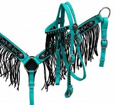Pony Nylon Crystals Fringe Bridle Headstall Reins Breast Collar Barrel Racing