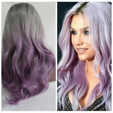 Synthetic Lace front wig hair Body wavy Ombre 1B/Gray/Lavender Heat resistant