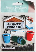 Summer Concert Cooler Red Cups Outdoor Venue Band Rock n Roll Jolee's 3D Sticker