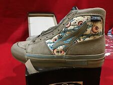 NOS VINTAGE AIRWALK EYEBALL GRY/TURQUOISE HIGH-TOP BOYS 4.5 SKATEBOARD BMX SHOES