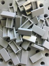 Lego 50 Light Gray Flat Tiles 1x2 Smooth Finishing Tile Buildings  Floor Grey