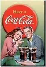 Coca Cola Young Couple steel fridge magnet    (de)