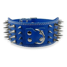 """3"""" Width 4 Rows Sharp Spiked Studded Soft Leather Dog Pet Collars For Pitbull"""