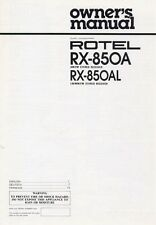 Rotel RX-850A Receiver Owners Manual