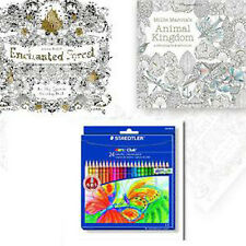 Johanna Basford Secret Garden 2 Coloring books,FREE Staedtler Colouring Pencils