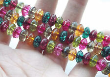 AAA 5x8mm Multicolor Tourmaline Abacus Loose Beads Gem 15'' F-75