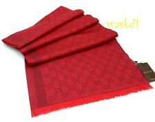 "GUCCI wool & silk 28x77"" Red & Burgundy Monogram Scarf Pashmina NWT Authentic!"