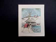 """#L76- Unused 1940's Glitter Xmas Greeting Card """"The Covered Bridge at Christmas"""""""