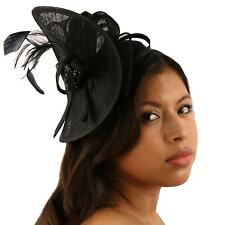 Handmade Feathers Beads Headband Fascinator Disc Millinery Cocktail Hat Black