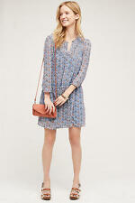 NWT SZ 4 $148 ANTHROPOLOGIE BETONY SWING DRESS BY HOLDING HORSES BLUE FLORAL