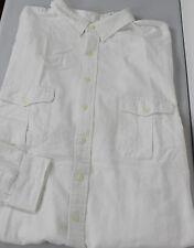 Ralph Lauren Button Front Shirt Mens 4XB Big 4X White Pockets Cotton New
