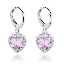 Real White Gold Filled Cubic Zircon Drop Earrings For Women Party Show