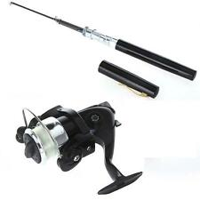 Mini Fishing Tackle Pocket Pen Kit Rod Pole and Spin Reel Combos Wheel US X3N8