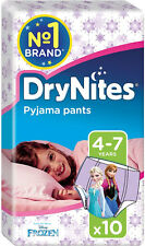Huggies Dry Nites Pyjama Pants for Girls 4-7yrs (10) FREE UK DELIVERY