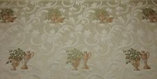 """EMBROIDERED POTTED PLANTS JACQUARD SCROLL FURNITURE FABRIC BY THE YARD 55"""" W"""