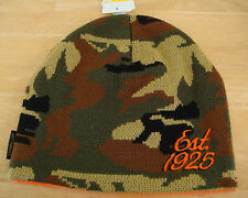 "Caterpillar Reversible Camo and Orange Beanie / Hat / Cap w/ ""est. 1925"" & logo"