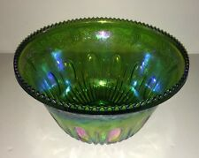 CARNIVAL INDIANA GLASS HARVEST GRAPES GREEN PUNCH BOWL IRIDESCENT