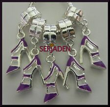 5 Purple Stiletto Dangling Charms for European Style Bracelets or Necklaces S124