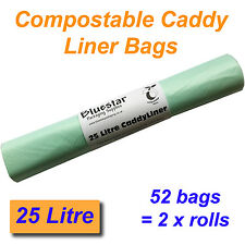 52 x 25 Litre Compostable Food Waste Caddy Liner Bags Biodegradeable