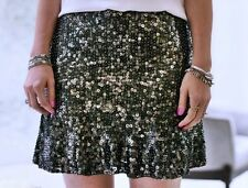 ZARA Dark Silver Sequin Flowy Party Mini Skirt  S 8 10 BNWT
