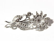 Vintage Czech silver plated Deco era floral pin brooch element jewelry finding