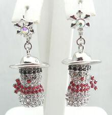 KIRKS FOLLY COWBOY UP SNOWMAN LEVERBACK EARRINGS~~ NEVER RELEASED~~ SILVERTONE~