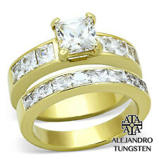 Women's Ring Wedding 7Ct Simulated Diamond Stainless Steel Gold Pt Size 6
