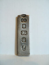 UNUSUAL 1977 STERLING SILVER ENGLISH HALLMARKED INGOT / BAR PENDANT