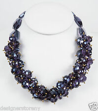 Kenneth Jay Lane amethyst faceted bead cluster gold necklace