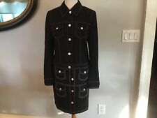 Escada Classic Navy Blue Suit Jacket and Skirt Sz 40