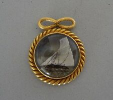 ANTIQUE 20K GOLD REVERSE PAINTED SHIP ON GLASS NAUTICAL PENDANT - 11.4 GRAMS