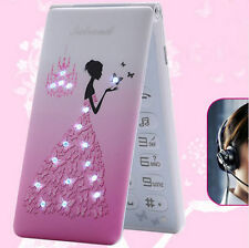 NEW Pink Flip Cartoon Cute Mini Quad Band Cell phone Best For Girls Gift