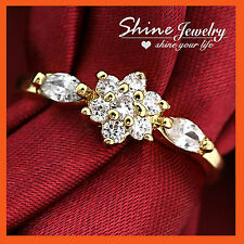 18K YELLOW WHITE GOLD GF CLUSTER LADY GIRL BRIDAL WEDDING RING SWAROVSKI CRYSTAL