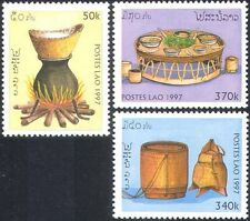 Laos 1997 Rice/Food/Cooking/Fire/Flames/Dishes/Table/Gastronomy 3v set (n42566)