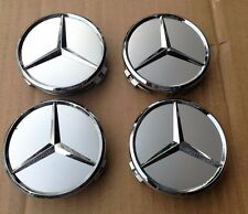 "New 4 Pcs MERCEDES SILVER CENTER WHEEL HUB CAP 75MM COVER CHROME 3"" EMBLEM LOGO"