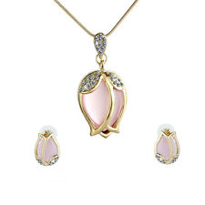 Women Pink Crystal Tulip Pendant Necklace Chain Earrings studs Jewelry Sets